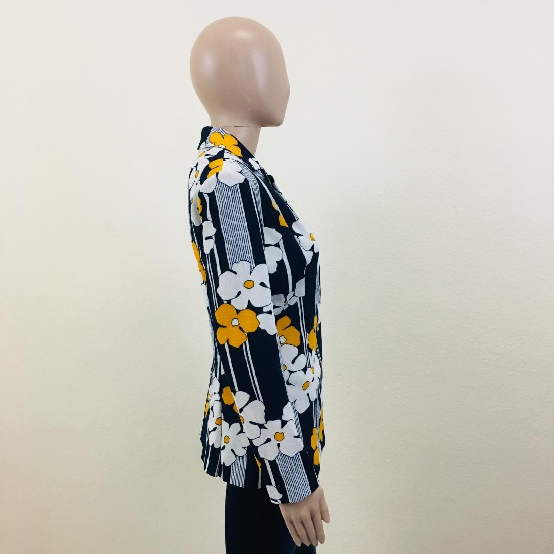 Vintage Women's Navy Blue Flower Blazer Jacket - 6