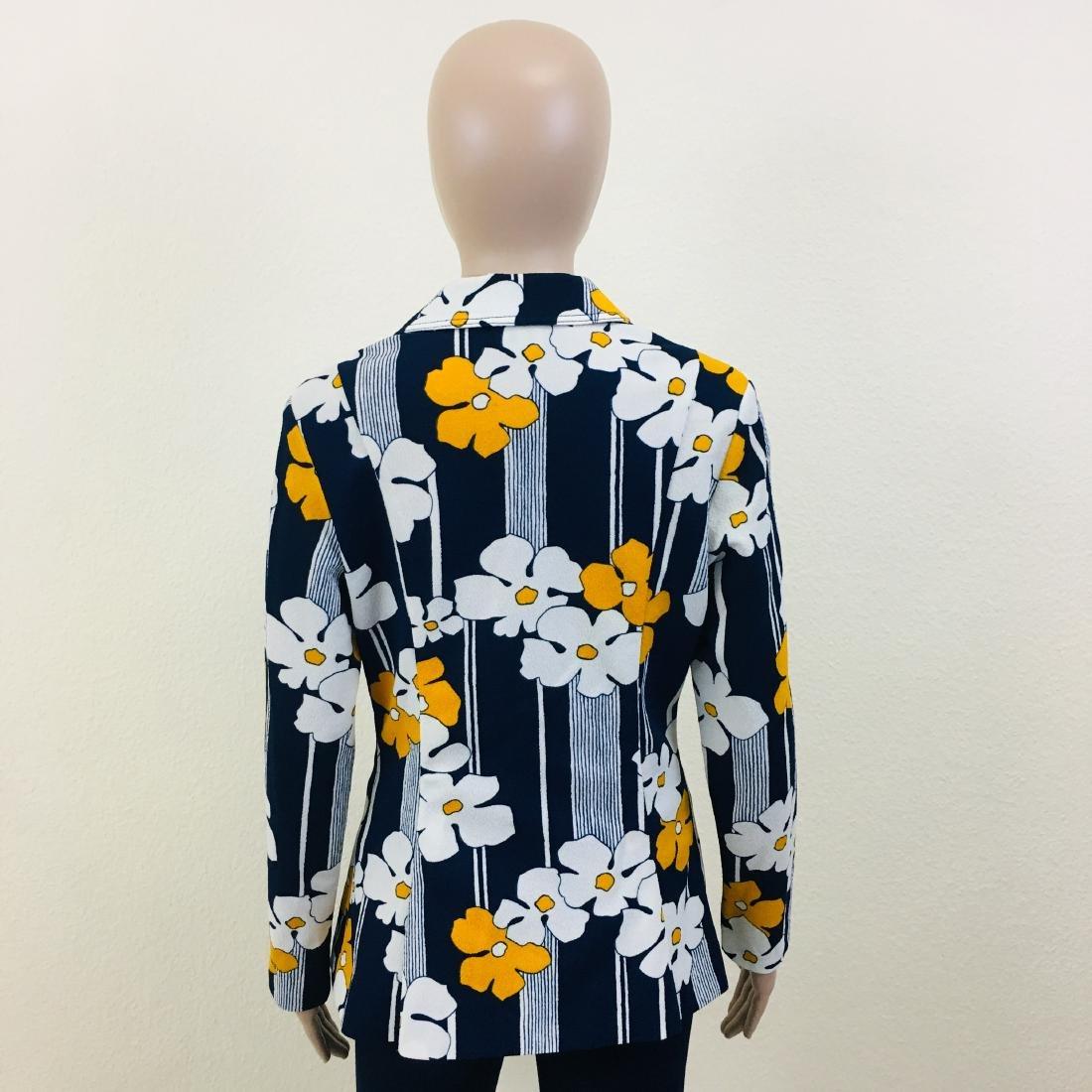 Vintage Women's Navy Blue Flower Blazer Jacket - 7