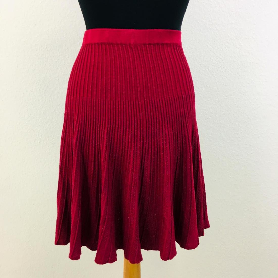 Vintage Women's Pleated Red Skirt - 4