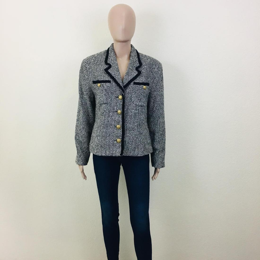 Vintage Women's Santarelli Designer Wool Blend Blazer - 2