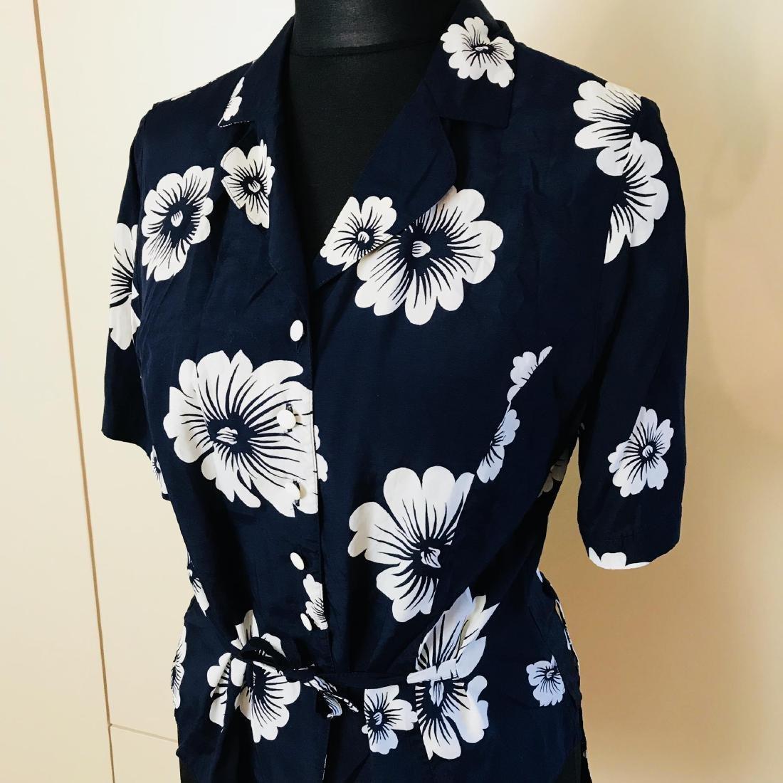 Vintage Women's Navy Blue Blouse Shirt Top - 2