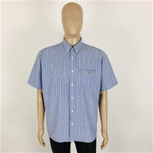 576fa41e7426b Men's Lacoste Blue Striped Short Sleeve Shirt Size 39 / - Oct 10 ...