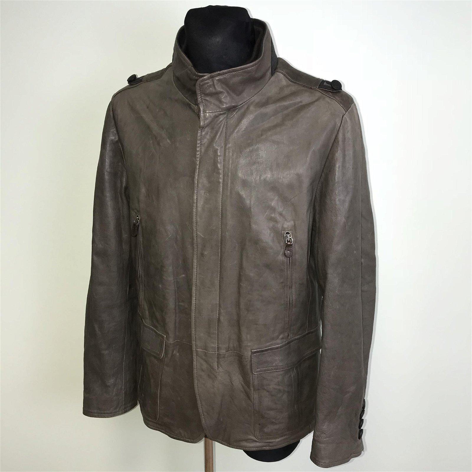 Vintage Men's Military Style Leather Jacket