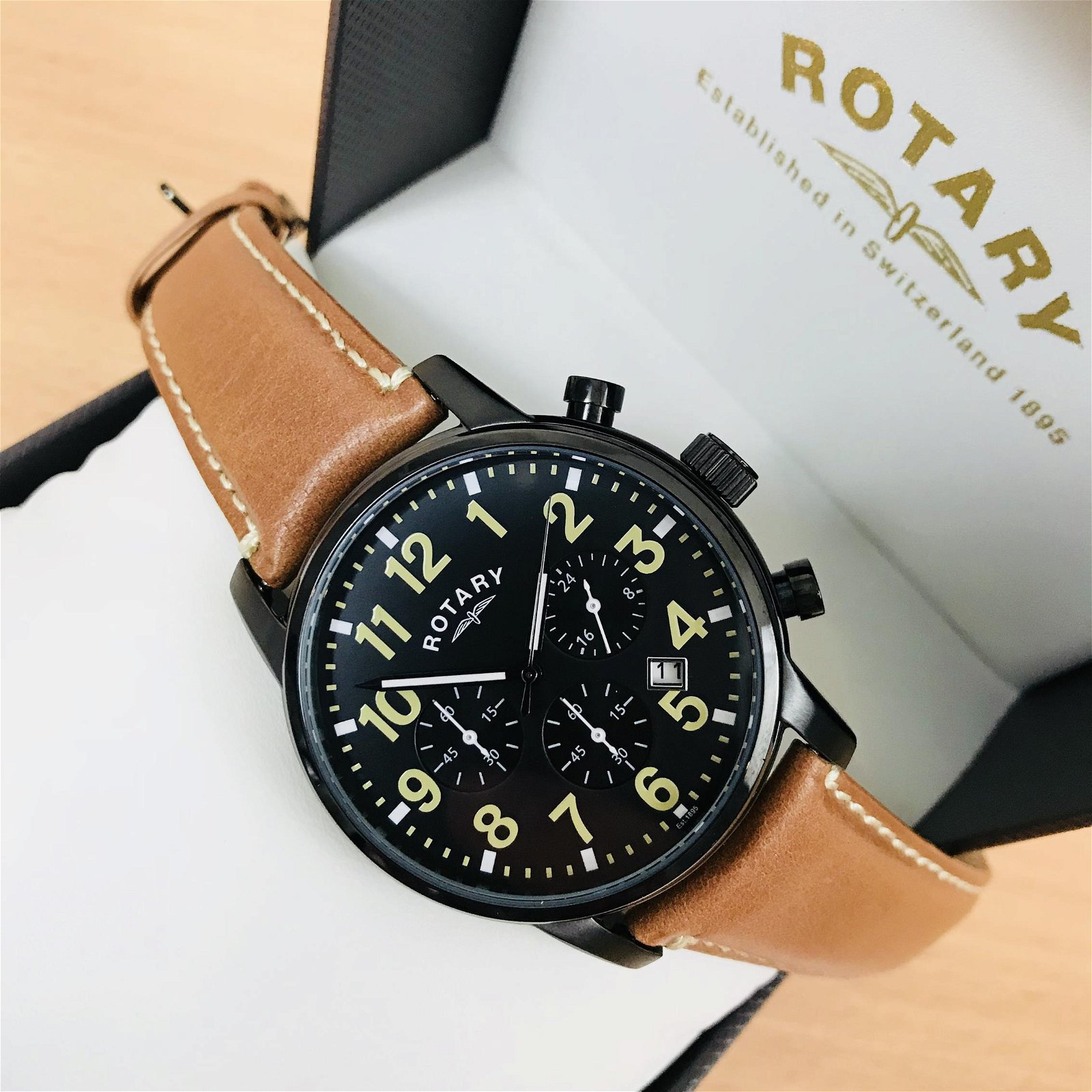 Rotary Men's Black Chronograph Watch