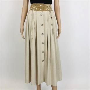 Womens Tyrolean Landhaus Linen Blend Skirt US 8