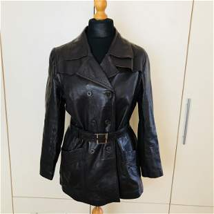 Vintage Women's Brown Leather Jacket Size US 10