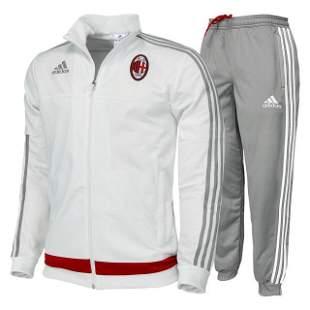 NEW Men's Adidas AC Milan ACM White / Grey Tracksuit