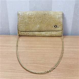 Vintage Beige Crocodile Leather Clutch Bag