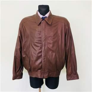 Vintage Men's Bomber Harrington Leather Jacket Size M