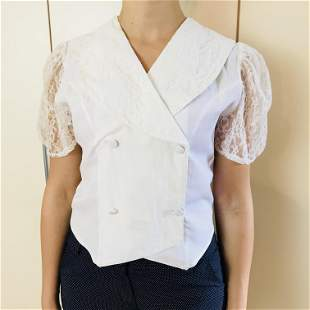 Vintage Women's White Blouse Shirt Top