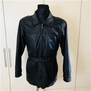 Vintage Men's Biker Black Leather Jacket