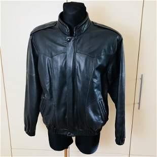 Vintage Men's Dark Grey Leather Jacket
