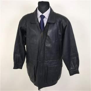 Vintage Men's C&A Black Leather Coat Jacket