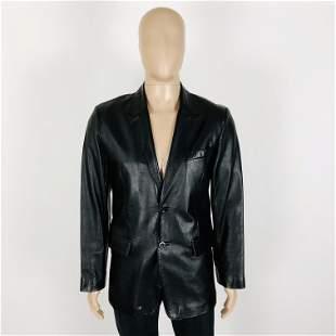 Men's 100% Leather Black Jacket Size US 36