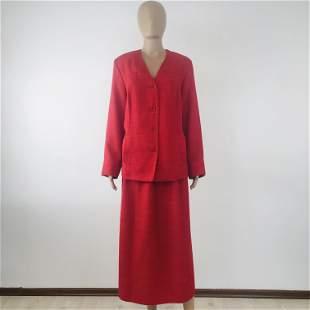 Women Red Linen Blend Costume Suit Size L