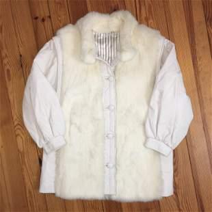 Women's White Rabbit Fur Coat / Waistcoat