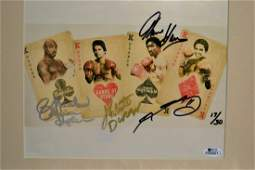 Boxing Greats Autograph Photo. the Four Kings sign