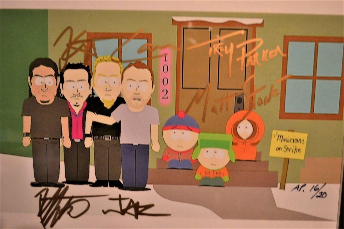 Metallica Autograph South Park Animation Cel, Metallica