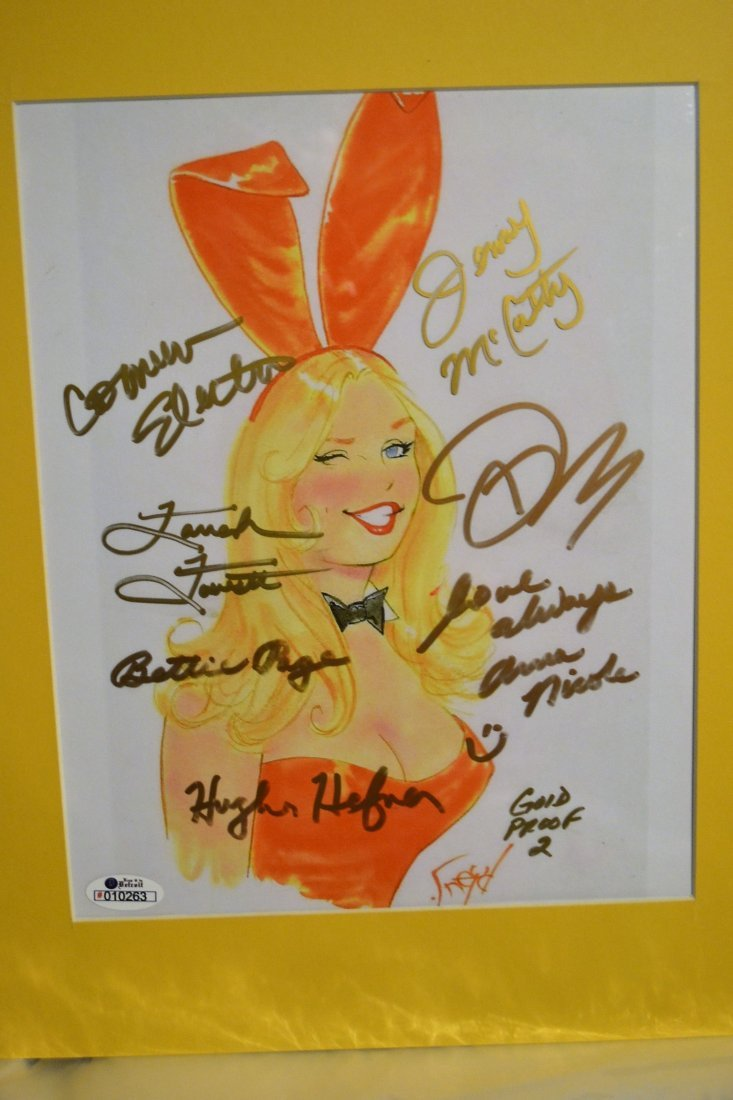 Playboy Bunny Autograph Art. Hugh Hefner Autograph Play