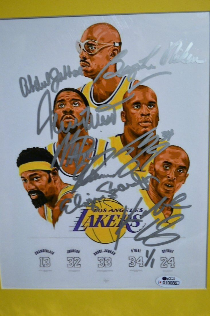 Lakers Greats Autograph Art. Los Angelas Lakers sign