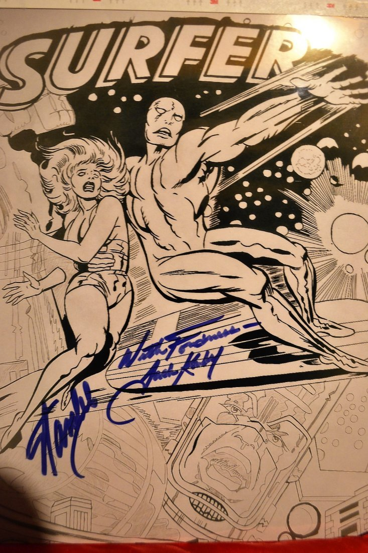 Stan Lee and Jack Kiby Sign Silver Surver Art,Animation
