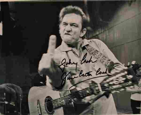 Johnny Cash Autograph Middle Finger Photo , Cash
