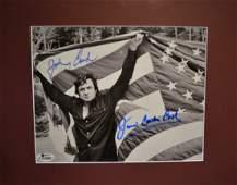 Johnny Cash Autograph Photo , Johnny Cash American Flag