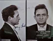 Johnny Cash Mugshot Autograph Photo , Johnny Cash Sign