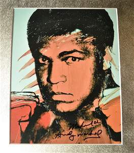 Andy Warhol Autograph Ali Sign Photo , transparency