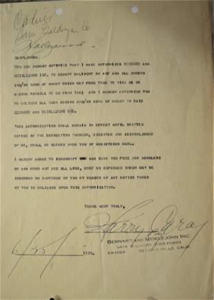 Harry Carey Sr Sign Contract Harry Carey Autograph