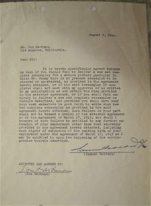Don Hartman Samuel Golgwyn Autographs contract