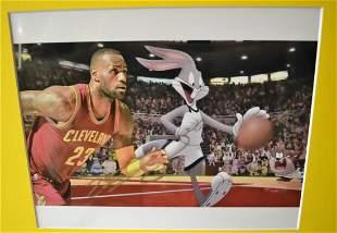 Lebron James Autograph Transparency Film Bugs Bunny Pho