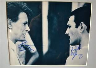 David Bowie and Freddy Mercury Sign Photo