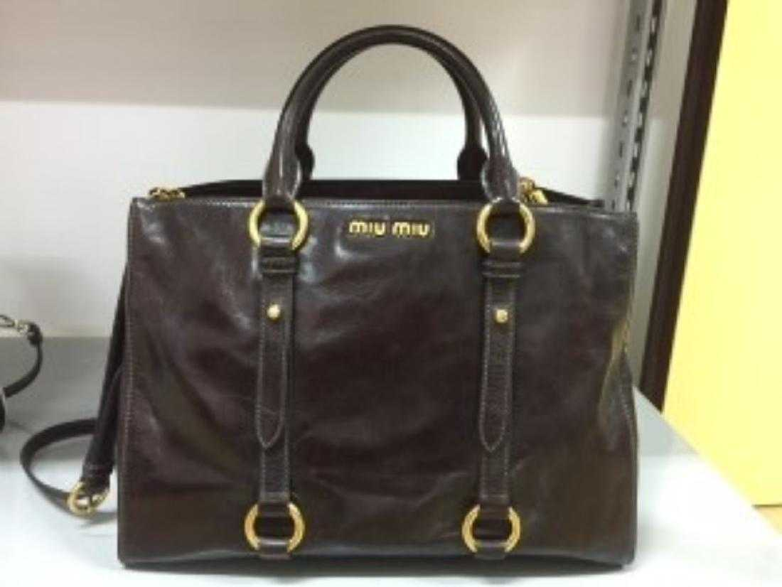 b47ea5d2798f Miu Miu RN1037 Vitello Shine Convertible Tote Bag