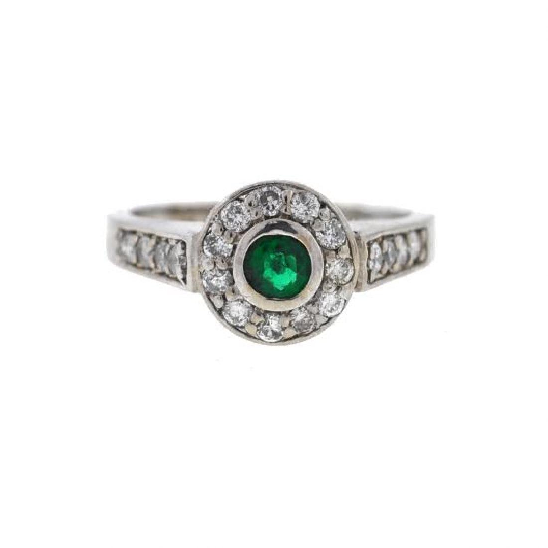 14k Gold Emerald/Diamonds Ladies Ring