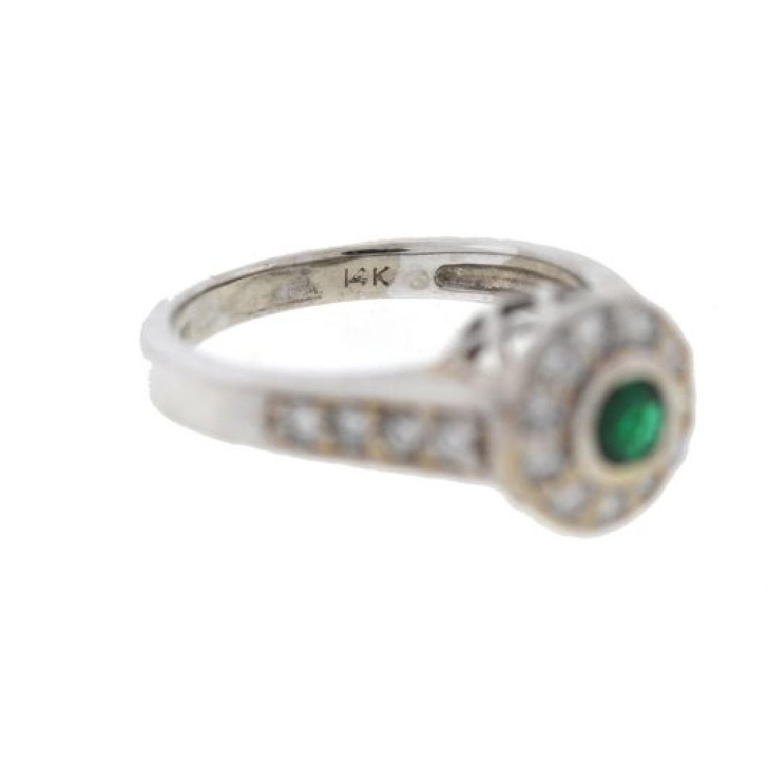 14k Gold Emerald/Diamonds Ladies Ring - 2