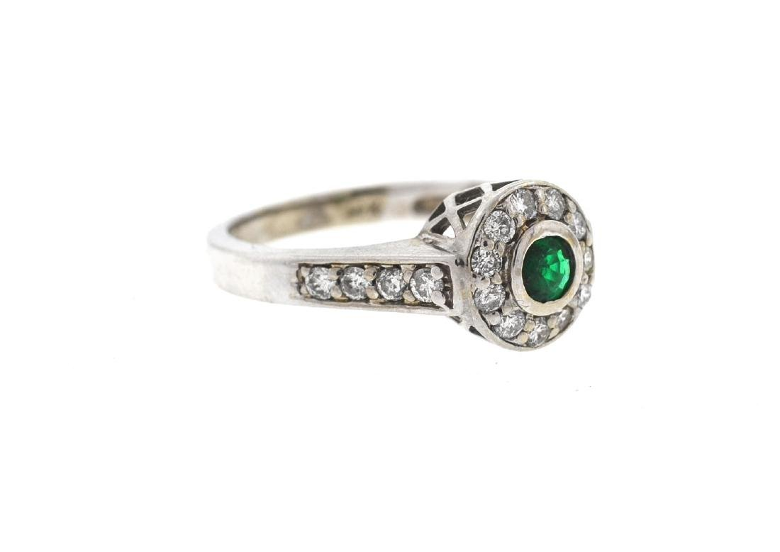 14k Gold Emerald/Diamonds Ladies Ring - 3
