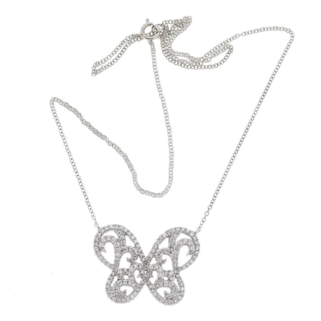 18k Gold Diamond Butterfly Necklace