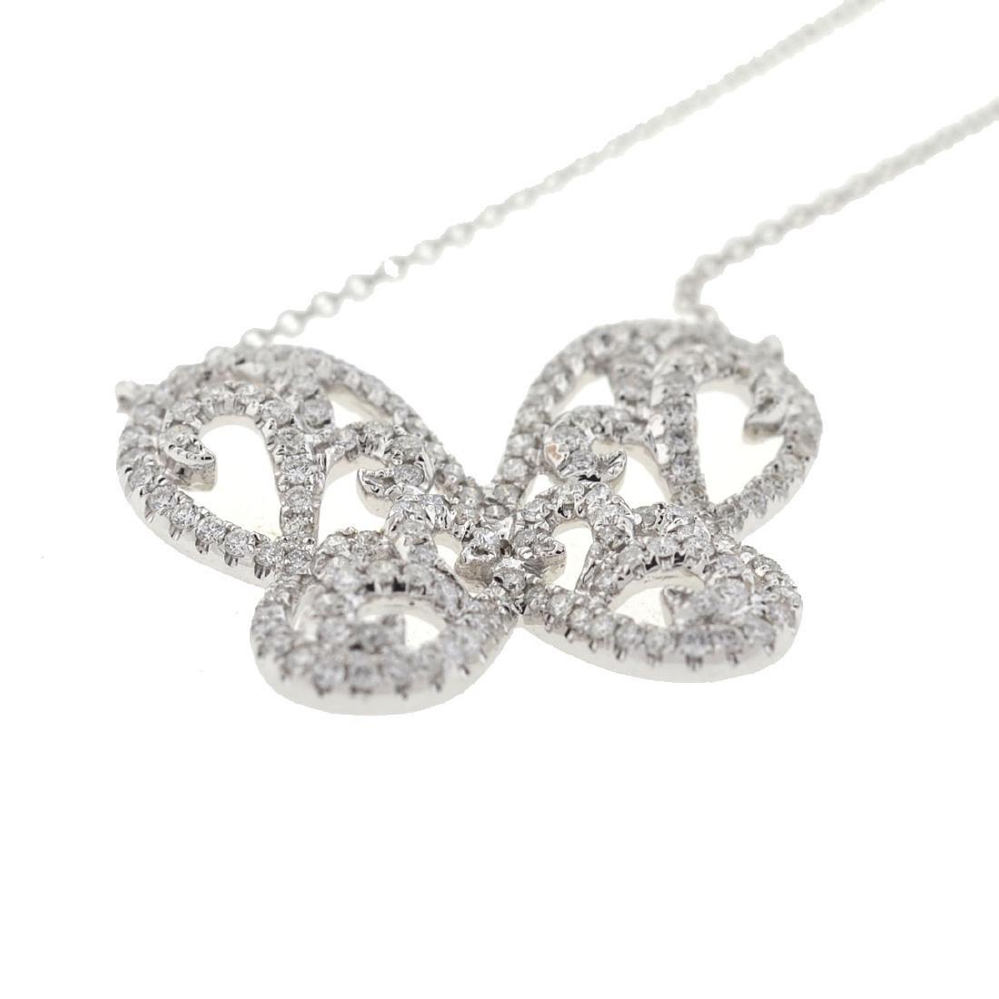 18k Gold Diamond Butterfly Necklace - 2
