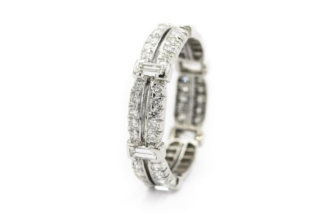 Art Deco Platinum and Diamond Wedding Band - 2
