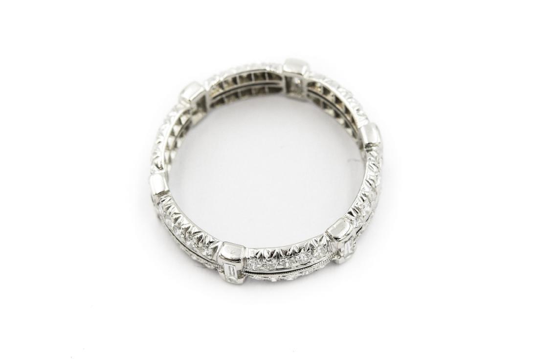 Art Deco Platinum and Diamond Wedding Band - 3
