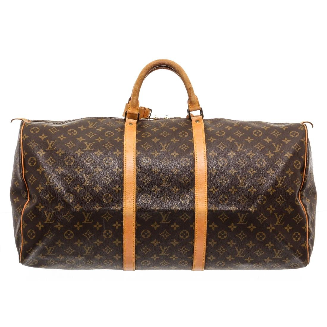 Louis Vuitton Monogram Canvas Leather Keepall 60 cm