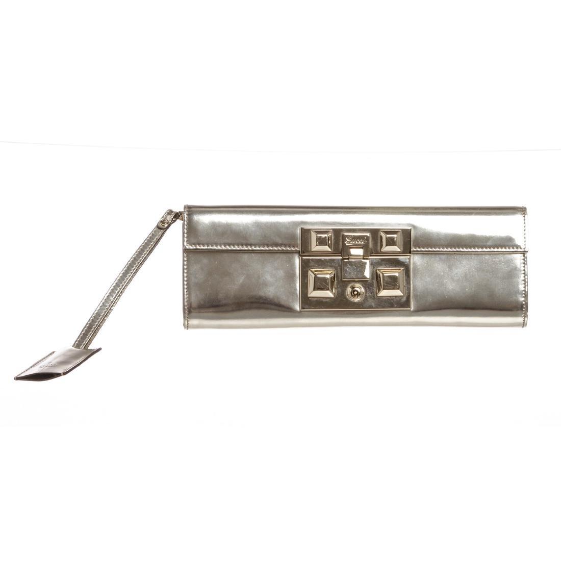 Gucci Metallic Silver Leather Evening Clutch Bag