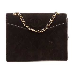 72b19104bdd5d4 Chanel Black Quilted Suede Leather Trim CC Flap Bag