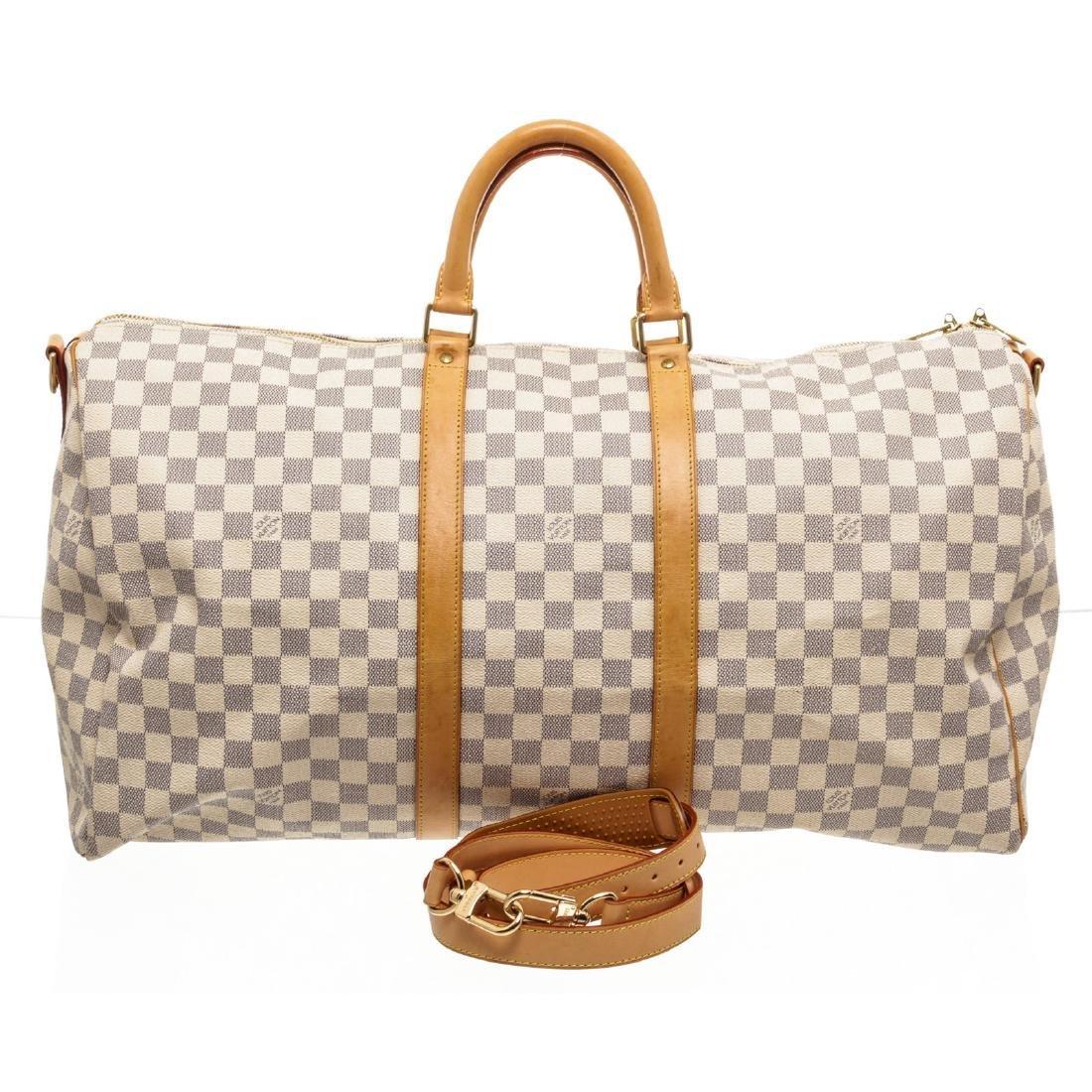 Louis Vuitton Damier Azur Canvas Leather Keepall 55 cm