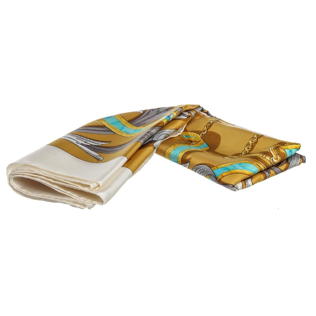 "Hermes Gold Multicolor Silk Le Mors ""A La Conetable"""