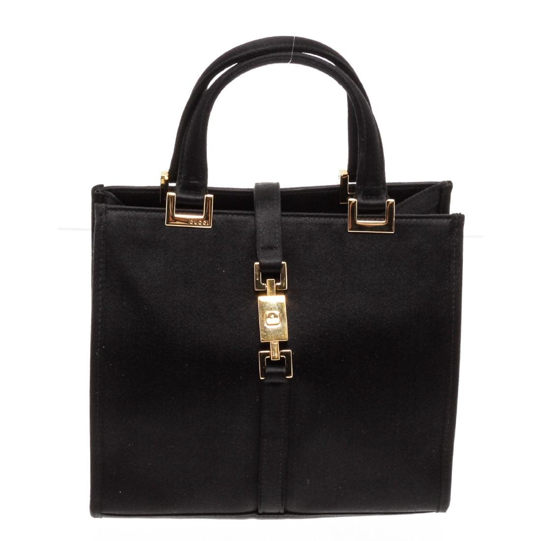 Gucci Black Satin Jackie Mini Tote Handbag