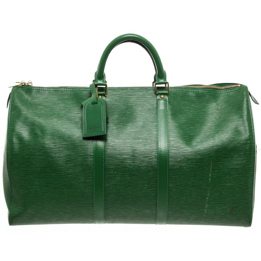 Louis Vuitton Green Epi Leather Keepall 55 cm Duffle