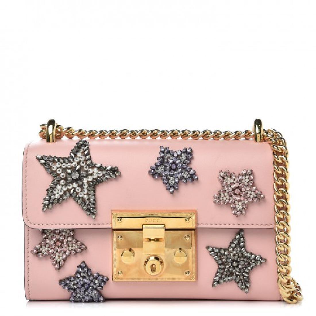 Gucci Calfskin Embroidered Star Small Padlock Shoulder
