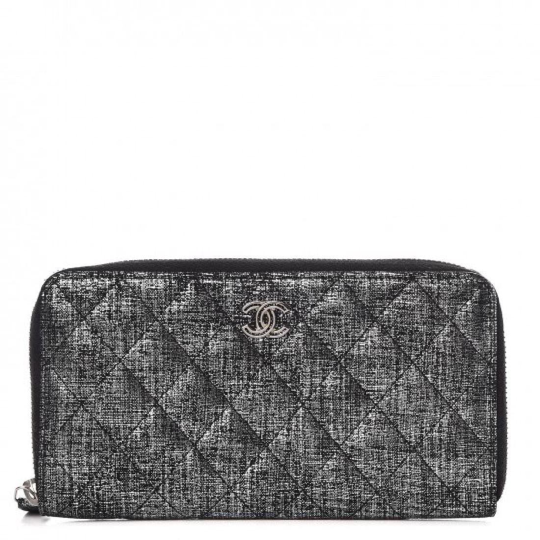 Chanel Quilted Fabric Zip Around Wallet
